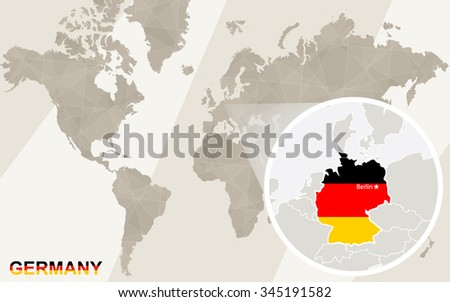 Zoom on Germany Map and Flag. World Map. Rasterized Copy.