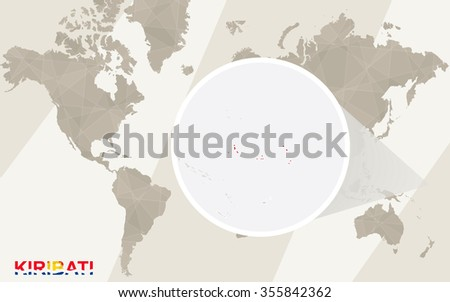 Zoom on Kiribati Map and Flag. World Map. Rasterized Copy. - stock photo