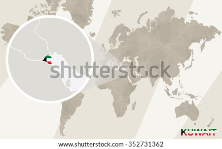 Zoom on Kuwait Map and Flag. World Map. Rasterized Copy. - stock photo