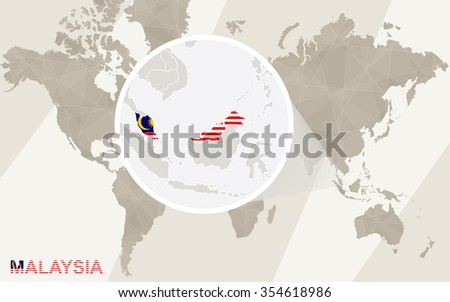 Zoom on Malaysia Map and Flag. World Map. Rasterized Copy. - stock photo