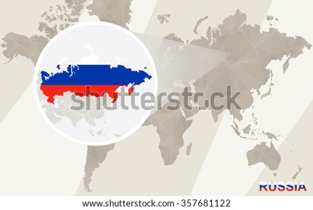Zoom on Russia Map and Flag. World Map.   - stock photo