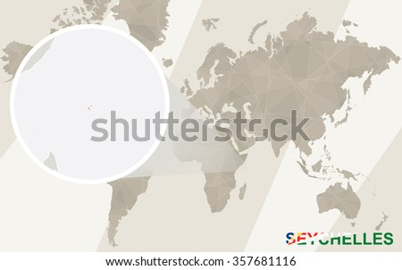 Zoom on Seychelles Map and Flag. World Map.  - stock photo