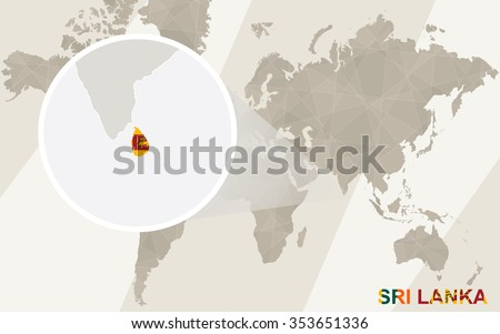 Zoom on Sri Lanka Map and Flag. World Map. Rasterized Copy. - stock photo