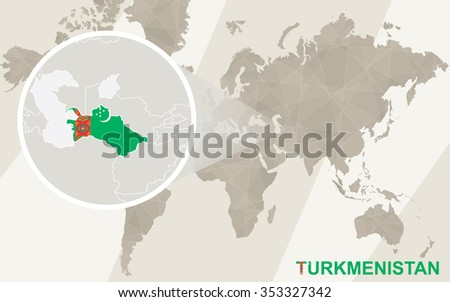 Zoom on Tajikistan Map and Flag. World Map. Rasterized Copy. - stock photo