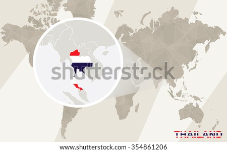 Zoom on Thailand Map and Flag. World Map. Rasterized Copy. - stock photo
