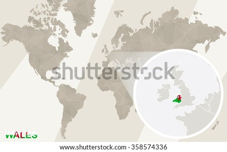 Zoom on Wales Map and Flag. World Map. Rasterized Copy. - stock photo