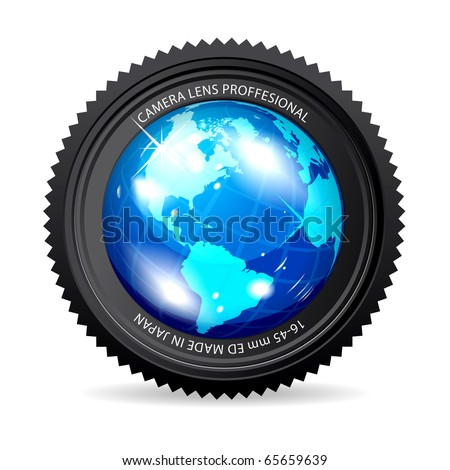 Zoom the World! illustration of camera lens with Globe - stock photo