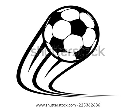 Zooming soccer ball flying through the air with curved motion trails in a black and white sketch - stock photo