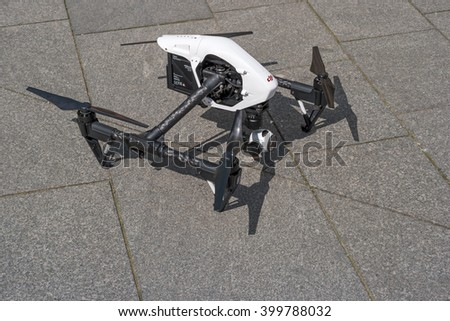 Zrenjanin, SERBIA: April  2016, Image of the Dji Inspire 1 drone UAV quadcopter which shoots 4k video and 12mp still images and is controlled by wireless remote with a range of 4km