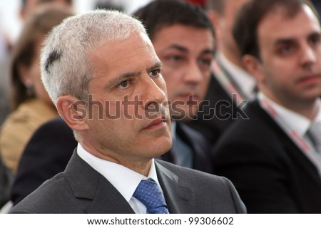 ZRENJANIN, SERBIA - APRIL 3: President of Republic of Serbia, Boris Tadic, attends the grand opening of Mecaplast factory on April 3, 2012 in Zrenjanin, Serbia