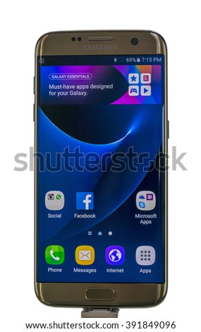 Zrenjanin, SERBIA March 15, 2016: Photo of Samsung Galaxy S7 Edge against white. Samsung S7 Edge is new generation smartphone from Samsung. The Samsung S7 Edge is smart phone with multi touch screen. - stock photo