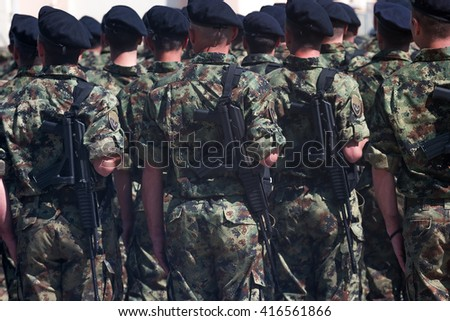 Zrenjanin, SERBIA: May 2016, Assault Rifle M21 A which uses NATO calibre ammunition of 5.56x45mm equiopped by Serbian troops. Assault Rifle M21 A is produced in Serbia by ZASTAVA Kragujevac - stock photo