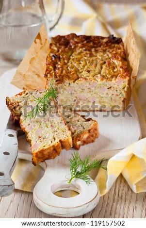 Zucchini and Turkey Ham Terrine - stock photo
