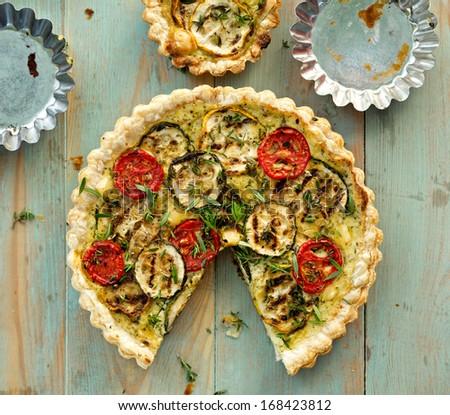 Zucchini quiche - stock photo