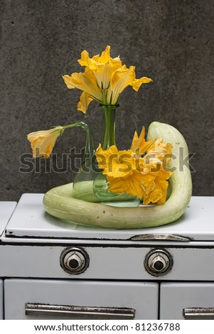 zucchini still-life on an old cooker