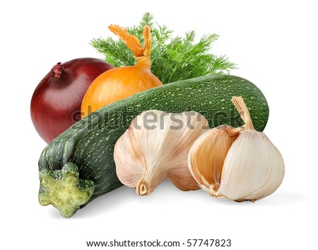 Zucchini with onions and garlic isolated on white background - stock photo