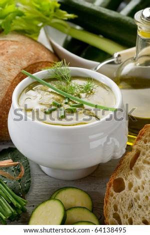 zucchinis soup with bread
