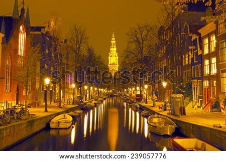 Zuiderkerk in Amsterdam the Netherlands at night - stock photo