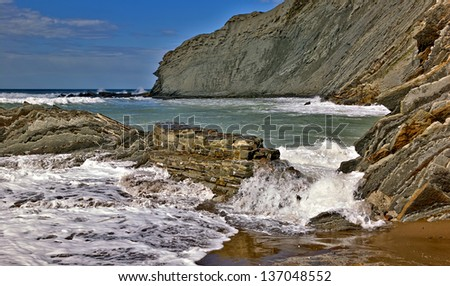 Zumaia Flysch beach in Basque country
