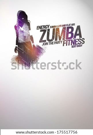 Zumba party or dance training invitation advert background with empty space - stock photo