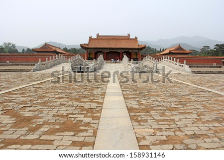 Zunhua, May 13: Chinese classical landscape architecture in the Eastern Royal Tombs of the Qing Dynasty on May 13, 2012, Zunhua City, Hebei Province, china.  - stock photo