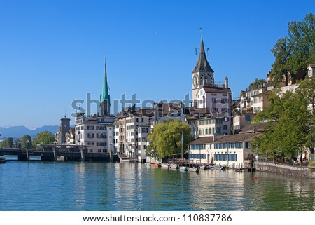 Zurich and Limmat river - stock photo