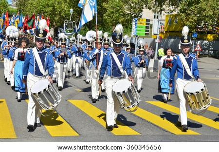 ZURICH - AUGUST 1: Traditional parade in Zurich on the Swiss National Day, August 1, 2013 in Zurich - stock photo