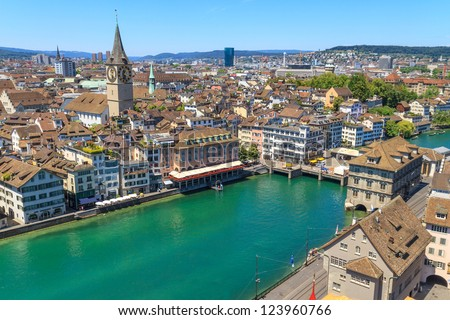 Zurich Cityscape (aerial view from elevated position) - stock photo