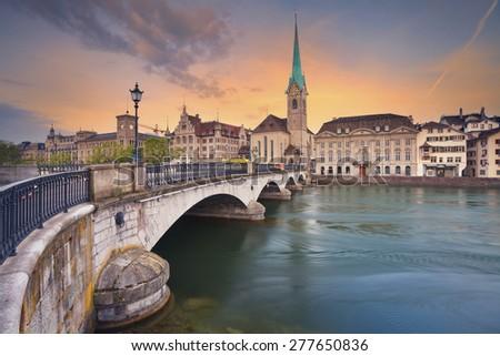 Zurich. Image of Zurich, capital of Switzerland, during dramatic sunrise. - stock photo
