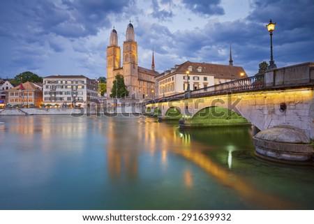 Zurich. Image of Zurich with Grossm�¼nster during twilight. - stock photo
