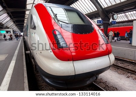 ZURICH-MARCH 24: Zurich HB train station on March 24, 2013. The station is one of the oldest railway stations in Switzerland. - stock photo