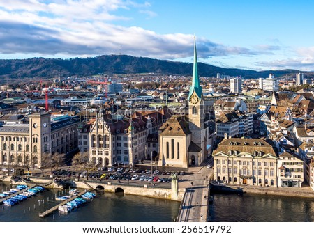 Zurich old town aerial  view. - stock photo
