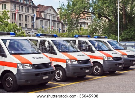 Zurich police cars parked before street parade - stock photo