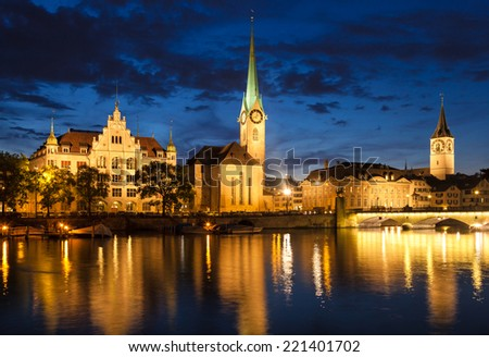 Zurich Skyline at Night, Switzerland - stock photo