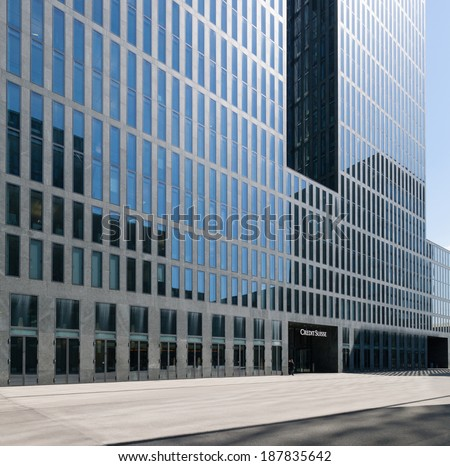 Zurich, Switzerland - April 16, 2014: Credit Suisse building in Zurich Oerlikon. Credit Suisse Group AG is a Switzerland-based multinational financial services holding company headquartered in Zurich.