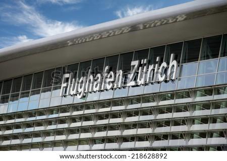 Zurich, Switzerland - APRIL 15: Terminal of Zurich Airport, which is one of the biggest flight transits in the Central Europe, at Zurich, Switzerland, April 15.2014 - stock photo