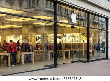 Zurich, Switzerland - 6 December, 2015: entrance of the Apple store on the Bahnhofstrasse street. Bahnhofstrasse is Zurich's main downtown street and one of the world's most expensive shopping avenues