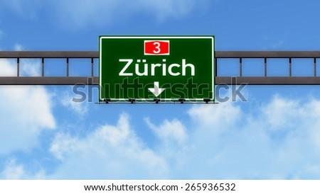 Zurich Switzerland Highway Road Sign - stock photo
