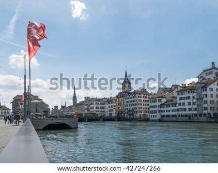 Zurich, Switzerland - May 2016 : Cityscape of Zurich where is the largest city in Switzerland and the world's largest financial centre, home to a large number of financial and banking giants