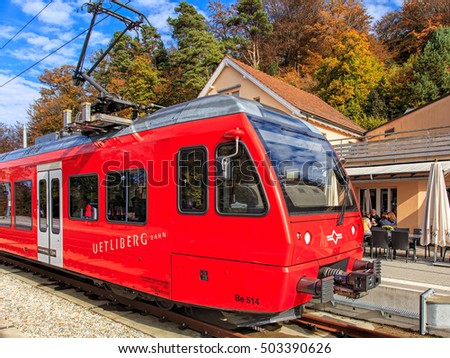 Zurich, Switzerland - 22 October, 2016: a train on the station on Mt. Uetliberg. Uetliberg is a mountain rising to 869 m, offering a panoramic view on the entire city of Zurich and Lake Zurich.