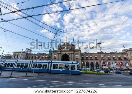 ZURICH, SWITZERLAND - SEP 21, 2014: Zurich Central Train Station is the largest railway station in Switzerland. It is a major railway hub with services to and from across European countries. - stock photo