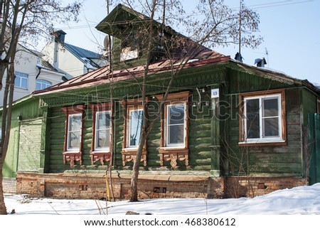 Zvenigorod, Russia - February 28, 2016. Old wooden house