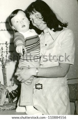ZVOLEN, CZECHOSLOVAK REPUBLIC, CIRCA 1974 - young mother and her baby - circa 1974
