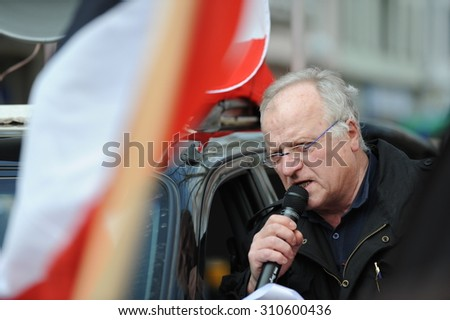 Zweibruecken, Germany - March 20, 2009: Protests against Neo Nazis and right wing extremists demonstrating. Right wing speaker during demonstration.   - stock photo