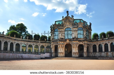 Zwinger, palace in the eastern Germany, Dresden, built in Rococo style by court architect Matthaus Daniel Poppelmann