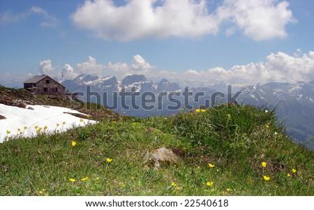 Zwinglipass Mountain Hut, Appenzell Alps, Switzerland. Churfirsten Massif In The Distance - stock photo
