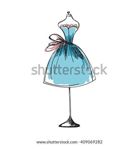 a ball gown blue mannequin hand drawing illustration on a white background