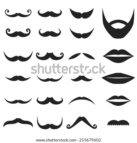 A Big Set of Facial Elements with Mustache, Beard and Lips.  - stock vector