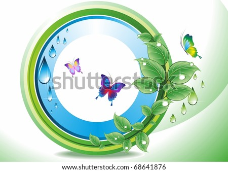 A branch with leaves and drops of water. Vector . - stock vector