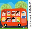 A bus with kids - stock vector
